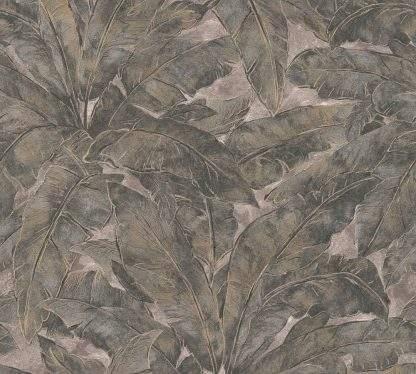 Tapet cu frunze gri antracit și linii metalice