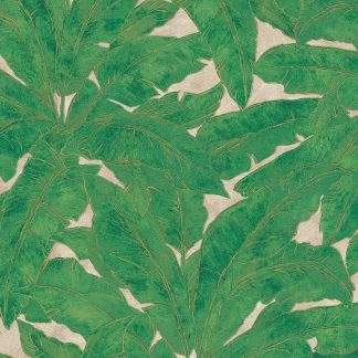 Tapet cu frunze verzi și linii metalice