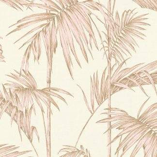 Tapet frunze palmier roz pe fond alb