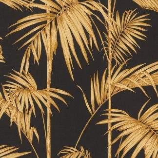Tapet frunze palmier aurii pe fond negru