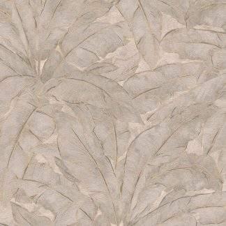 Tapet cu frunze gri și linii metalice aurii