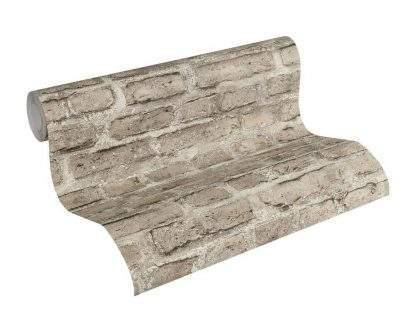 Tapet model cărămidă maro cu gri