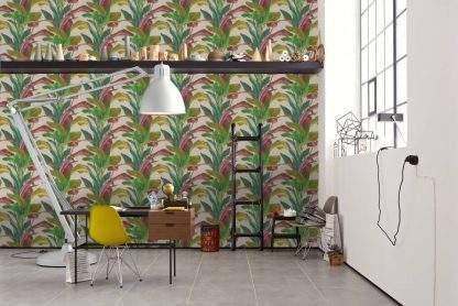 Tapet cu frunze colorate verzi și crem