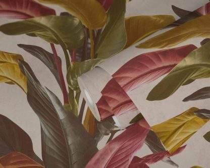 Tapet cu frunze maro cu portocaliu și roșu