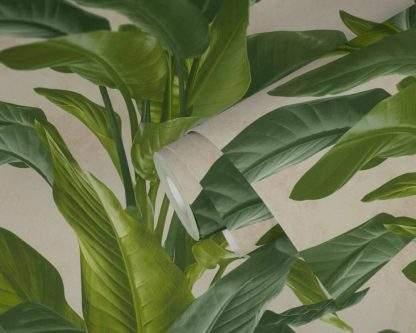 Tapet cu frunze verzi cu crem