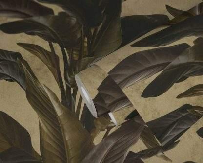 Tapet cu frunze maro cu negru metalic