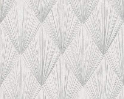 Tapet metalic grafic gri cu alb și linii