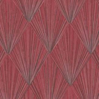 Tapet metalic grafic, roșu cu negru și linii