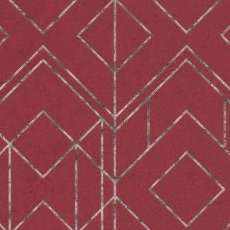 Tapet metalic grafic roșu și linii cu negru argintiu AS378692